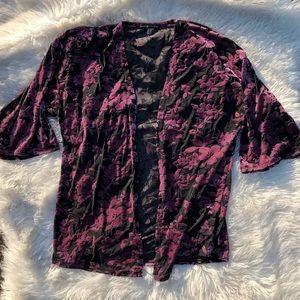 Always Indigo Velvet Purple Floral Burnout Kimono